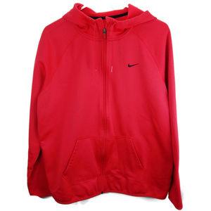 NIKE Red Dri Fit Full Zip Fleece Hoodie